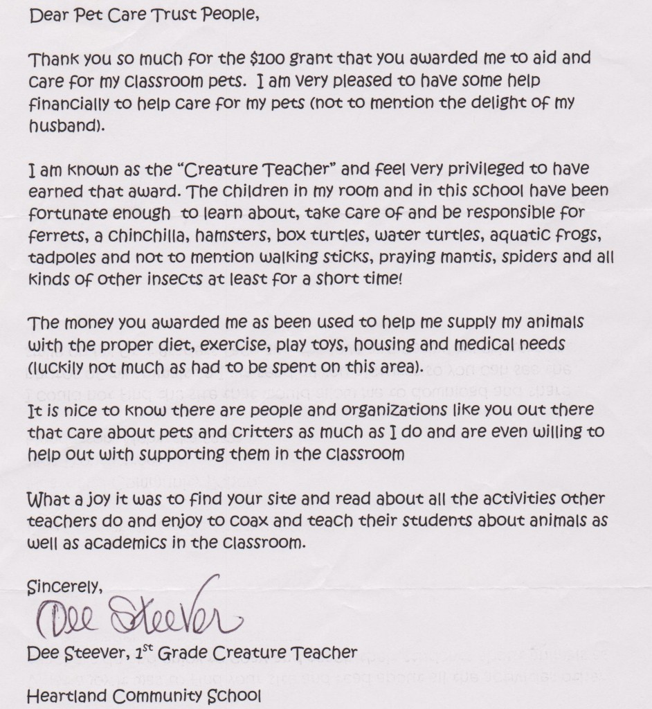Teacher Letters Pets In The Classroom Letters From Teachers