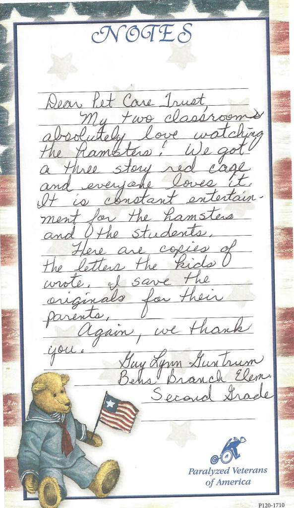 letter from teacher hamsters