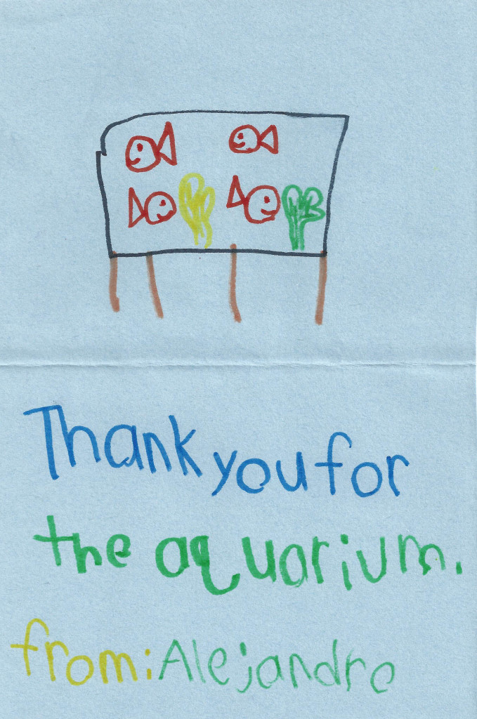 student aquarium thank you