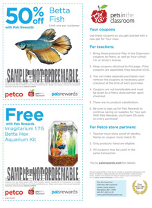 Petco Betta Fish grant coupon
